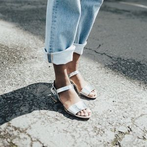 Shellys London Shoes - Metallic Silver Low Block Heel Sandals